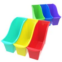 Storex Small Book Bins with Front Pockets