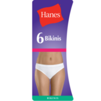 Hanes Women's Cotton Bikini - Pack of 6 White L