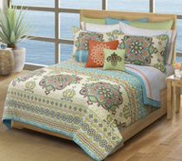 Safdie & Co. Home Deluxe Collection Multi Color 100% Polyester Quilt Set Double/Queen