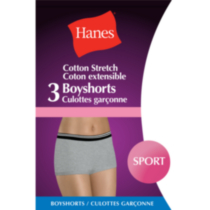 Hanes Ladies Sport Boyshort Briefs - Pack of 3 L