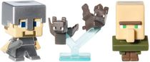 Minecraft Collectible Figures Bats, Steve with Iron Armor and Villager 3-Pack, Series 2