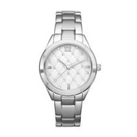 Fashion Watches Women's Silver Tone Quilted Dial Watch with Glitz Details
