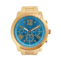 Fashion Watches Women's Large Boyfriend Gold Tone Watch with Turquoise Dial
