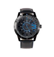 Trend Watches Men's Analog Watch with Blue Accent on Dial and Black Strap