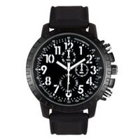 Trend Watches Men's Blackout Watch with White Accent on Dial and Black Strap