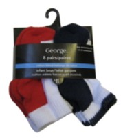 George Infant Boys' Cotton Blend Cushion Anklets, Pair of 8