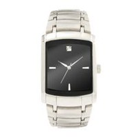 Trend Watches Men's Dress 3 Hand Rectangle Silver Tone Watch