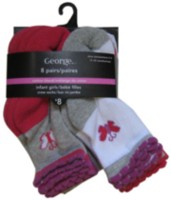 George Infant Girls' Cotton Blend Crew Socks, Pair of 8