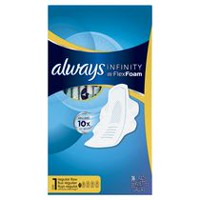 Always Infinity Size 1 Regular Pads with Wings, Unscented