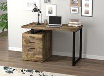 Safdie & Co. Computer Desk 47.25L Brown Reclaimed Wood 3 Drawers Black Metal