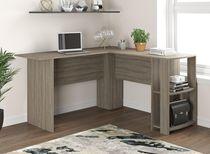 Safdie & Co. Computer Desk 55L Dark Taupe L-Shaped 2 Shelves