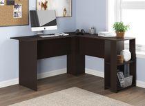 Safdie & Co. Computer Desk 55L Cappuccino L-Shaped 2 Shelves