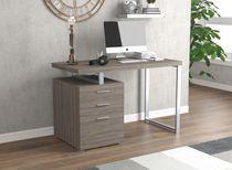 Safdie & Co. Computer Desk 47.25L Dark Taupe 3 Drawers Silver Metal