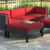 CorLiving PPO-851-O Oakland Textured Black Weave Patio Ottoman