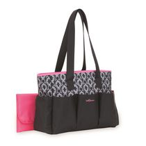 Baby Boom 7-Pocket Tote Black with Pink trim Diaper Bag