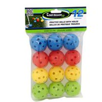 Tour Mission Junior Practice Balls With Holes, Pack of 12 - Assorted Colors