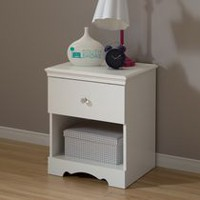 South Shore Crystal 1-Drawer Nightstand, White