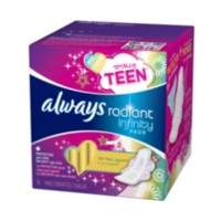 Always Radiant Infinity Totally Teen Unscented Regular Pads with Wings