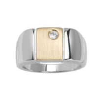 Sterling Silver Two-Tone Men's Matte Finished Ring with Cubic Zirconia Accent 10