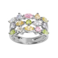Sterling Silver Multi-Coloured Cubic Zirconia Ring 6