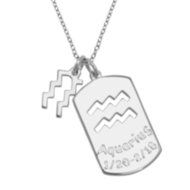 Sterling Silver 2-in-1 Zodiac Pendant Aquarius