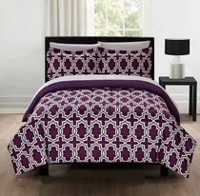 Mainstays Microfiber Purple Geo Bed-in-a-Bag