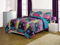 Mainstays Kids Patchwork Reversible Microfiber Comforter Set