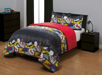 Mainstays Kids Comic Stripe Reversible Microfiber Comforter Set