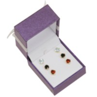 Sterling Silver 18K Gold Plated 3-Piece Genuine Gemstone Earring Set