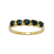 Sterling Silver 18K Gold Plated Genuine Sapphire Ring 7