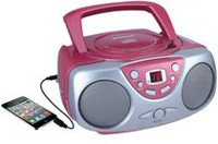 Sylvania Portable CD Player with AM/FM Radio Pink