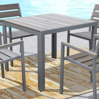 CorLiving PJR-573-T Gallant Sun Bleached Grey Square Outdoor Dining Table