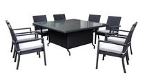 Henryka 9-Piece Dining Patio Set with Cushions - Black