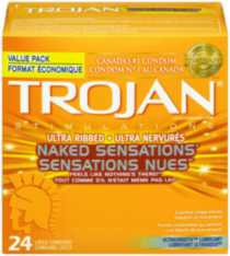 TROJAN® Ultra Ribbed NAKED SENSATIONS® - 24 Lubricated Latex Condoms