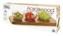 Libbey Acaciawood Condiment Server Set