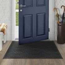Mainstays 3 ft. x 4 ft. Platinum Needlepunch Charcoal Doormat with Vinyl Backing