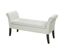 Hallway Bench with Storage, White