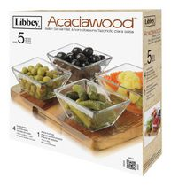 Libbey Acaciawood Relish Server Set