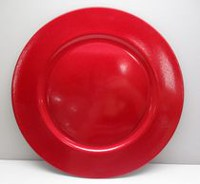Holiday time Red Polypropelene Sparkly Charger Plate