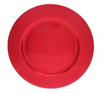 "Holiday time 13"" Red Polypropylene Foil Charger Plate Red"
