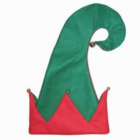 HOLIDAY TIME 17 IN JESTER HAT WITH BELL POMS - RED/GREEN