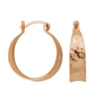 Sterling Silver Rose Gold Plated Hammered Hoop Earring