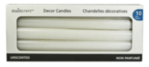 "10 Pack Unscented10"" Formal Candles - White"