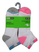 Athletic Works Girls' Low Cut Anklets 6-Pair Socks White asst