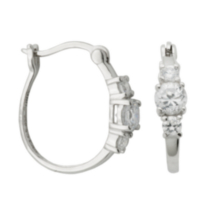 Sterling Silver Rhodium Plated Cubic Zirconia 3-Stone Hoop Earring