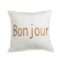 Bonjour - White Canvas Filled Cushion  - Set of 2