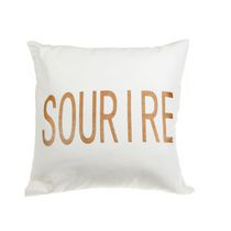 Sourire - White Canvas Filled Cushion  - Set of 2