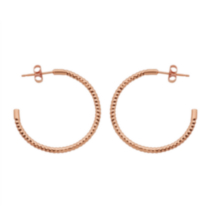 Sterling Silver Rose Gold Plated Diamond Cut Post Hoop Earring