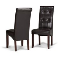 WyndenHall Essex 2 Pack Deluxe Tufted Parson Chair Dark Brown
