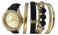 Montre Fashion Watches pour femmes superposable en or avec six bracelets variés